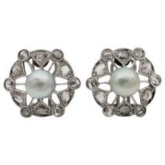 Spectacular Art Deco Natural Pearl Rose Cut Diamond Platinum Earrings