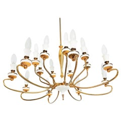Spectacular Arte Italian Brass Chandelier 16 Arms Two-Tiered Mid-Century Modern