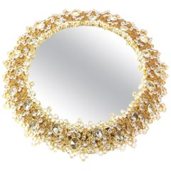 1/2 Spectacular Backlit Mirror Gilded Brass and Crystal Glass by Palwa, Germany
