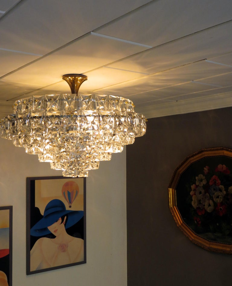Mid-Century Modern Spectacular Ballroom Seven-Tier Crystal and Gilt Brass Chandelier by Kinkeldey For Sale