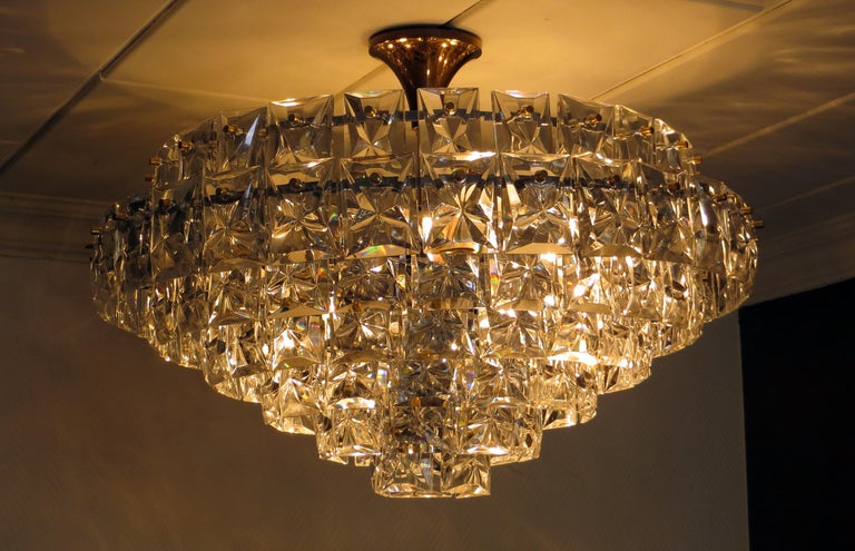 German Spectacular Ballroom Seven-Tier Crystal and Gilt Brass Chandelier by Kinkeldey For Sale