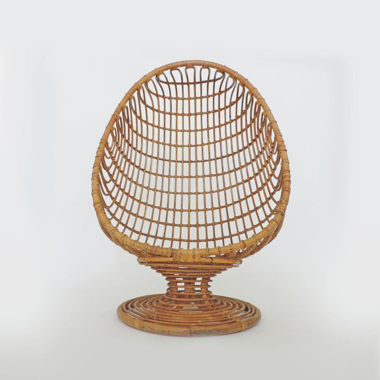 Italian Spectacular Bamboo Egg Chair, Italy, 1960s For Sale