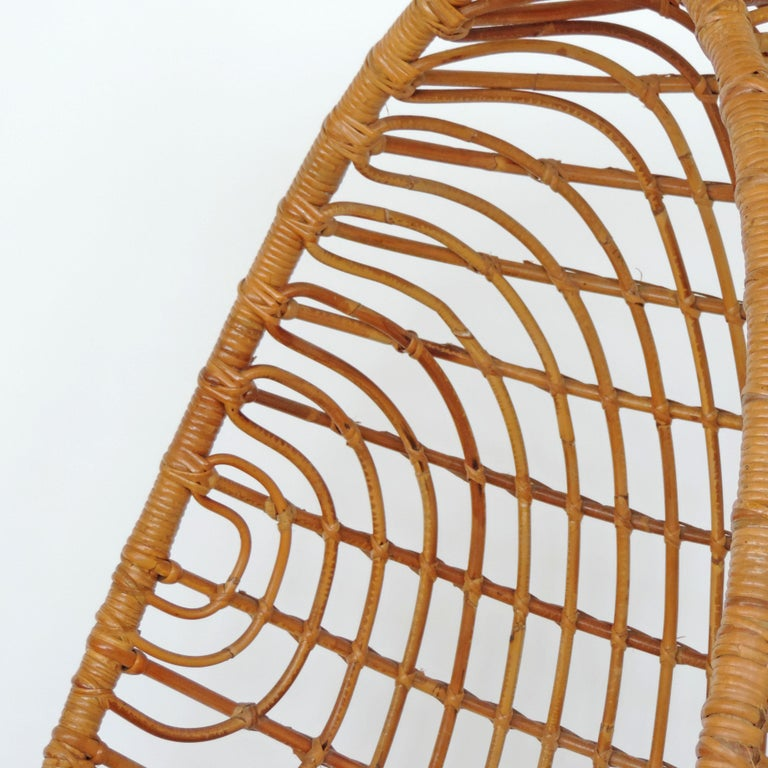 Mid-20th Century Spectacular Bamboo Egg Chair, Italy, 1960s For Sale