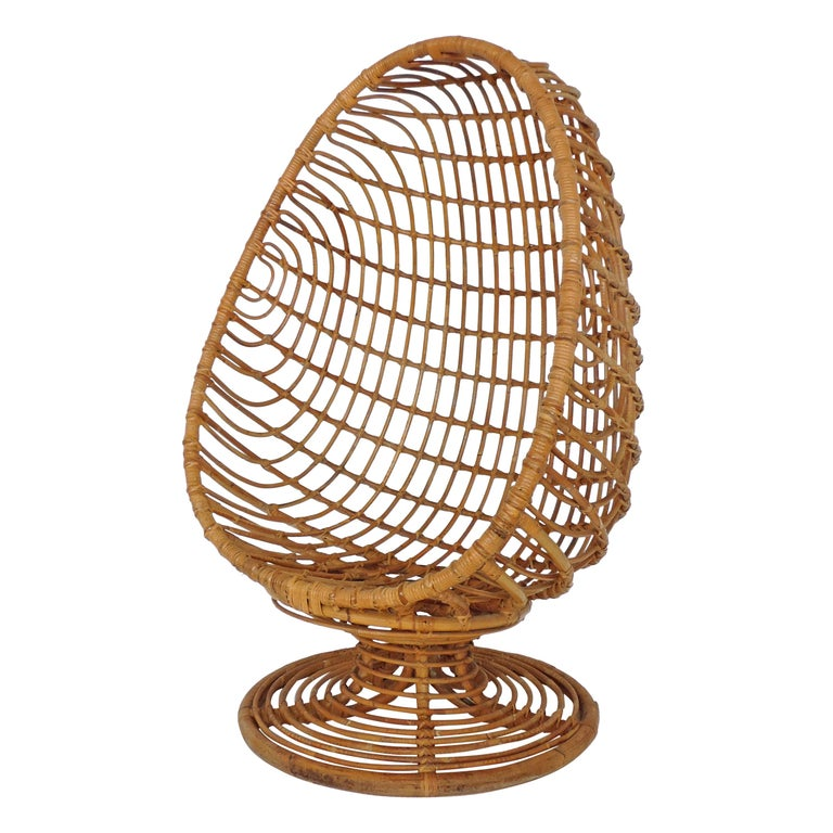 Spectacular Bamboo Egg Chair, Italy, 1960s For Sale