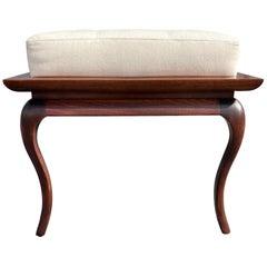 Spectacular Bench, Saber Leg, Fabric, Brown, 1950s, USA