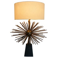 Spectacular Bronze Starburst Table Lamps by Arturo Pani 1950s Mexican Modernism