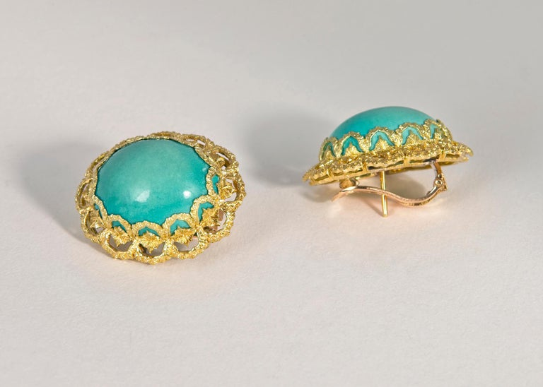 Contemporary  Buccellati Turquoise and Gold Earrings For Sale
