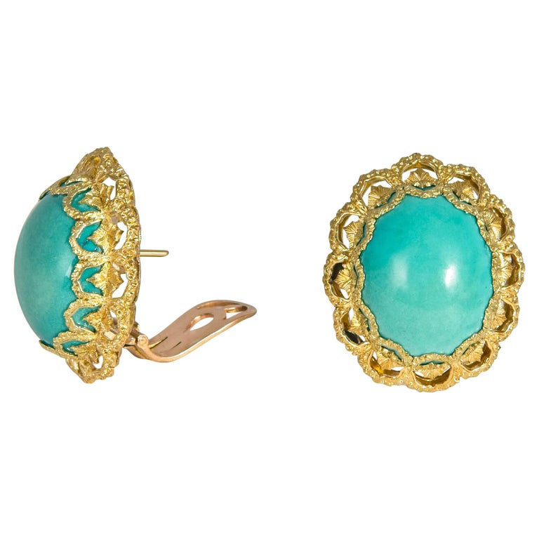 Buccellati Turquoise and Gold Earrings For Sale