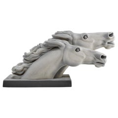 Spectacular Charles Lemanceau French Art Deco Horse Racing Sculpture, 1930s