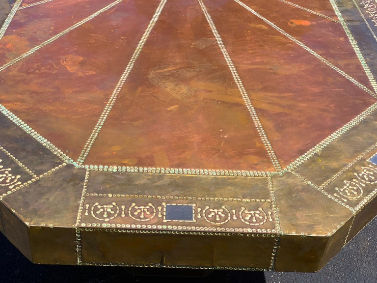 Spanish Spectacular Copper and Brass Dining Table by Rodolfo Dubarry for King Hassan II For Sale