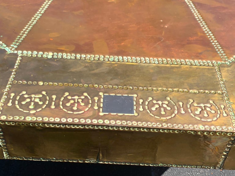 Silver Plate Spectacular Copper and Brass Dining Table by Rodolfo Dubarry for King Hassan II For Sale