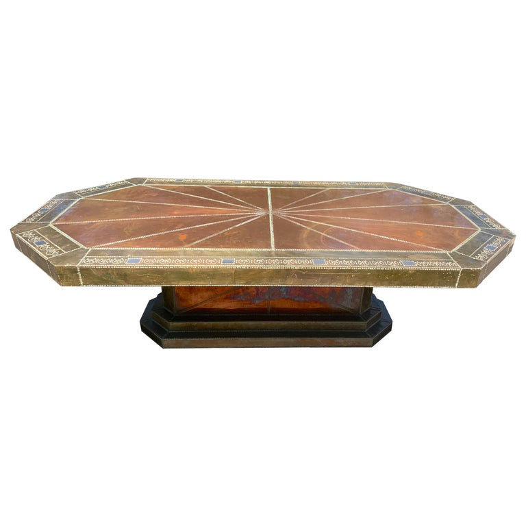 Spectacular Copper and Brass Dining Table by Rodolfo Dubarry for King Hassan II For Sale
