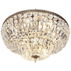 Spectacular Crystal and Brass Flush Mount chandelier