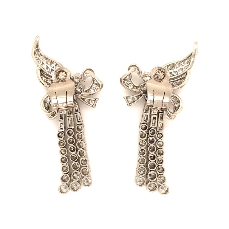Spectacular Diamond Earclips in 14 Karat White Gold and Platinum For Sale 5