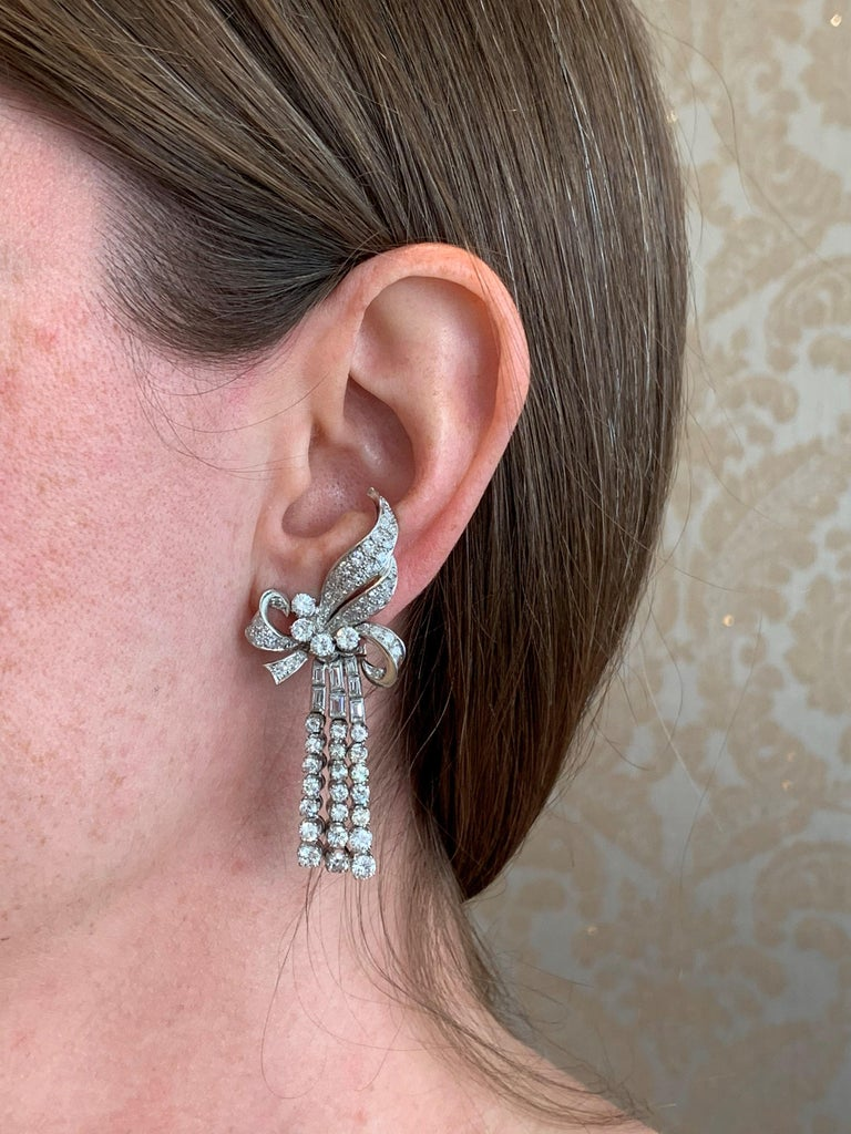Spectacular Diamond Earclips in 14 Karat White Gold and Platinum For Sale 6