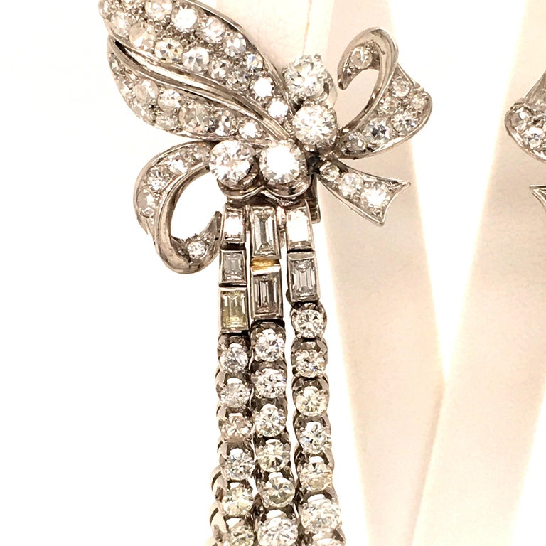 Spectacular Diamond Earclips in 14 Karat White Gold and Platinum For Sale 1
