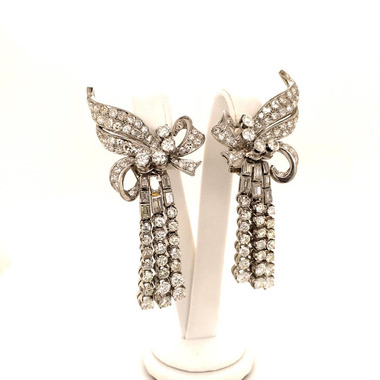 Spectacular Diamond Earclips in 14 Karat White Gold and Platinum For Sale 2