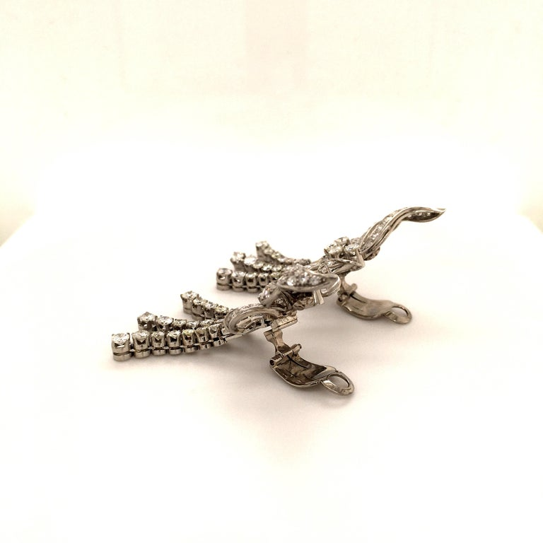 Spectacular Diamond Earclips in 14 Karat White Gold and Platinum For Sale 3