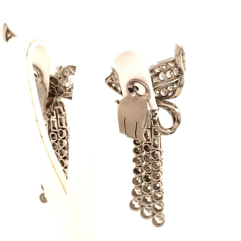 Spectacular Diamond Earclips in 14 Karat White Gold and Platinum For Sale 4