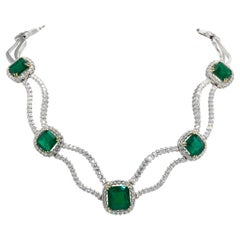 Spectacular Emerald and Diamond Platinum and White Gold Necklace