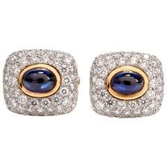 Spectacular Estate DIamond Sapphire 18 Karat Platinum Cufflinks