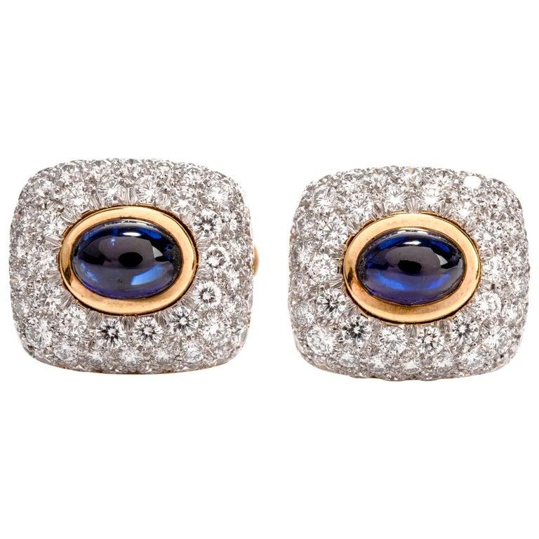 Spectacular Estate DIamond Sapphire 18 Karat Platinum Cufflinks For Sale