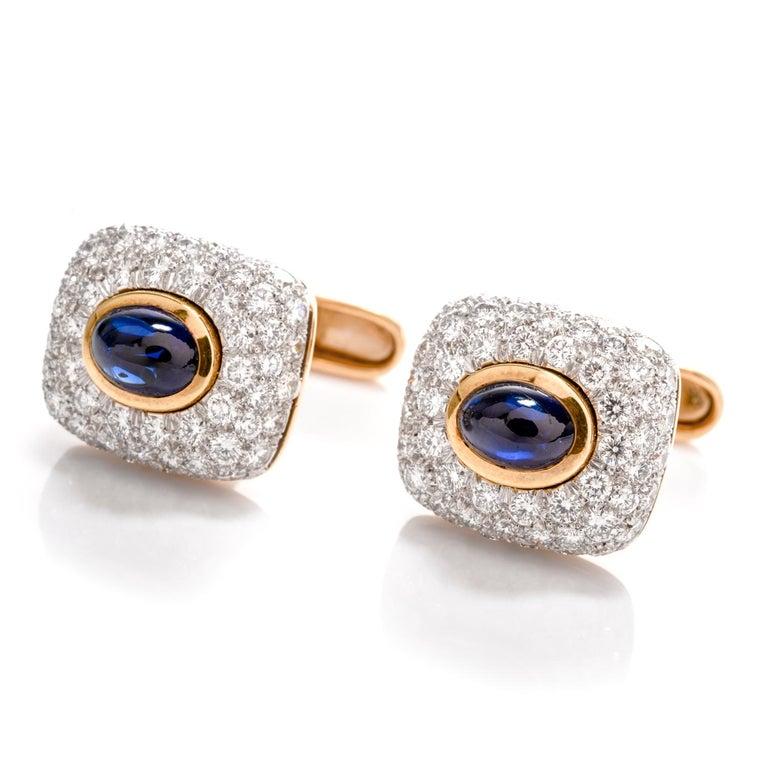 Spectacular Estate DIamond Sapphire 18 Karat Platinum Cufflinks In Excellent Condition For Sale In Miami, FL
