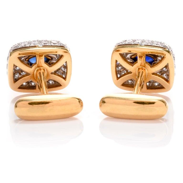 Women's or Men's Spectacular Estate DIamond Sapphire 18 Karat Platinum Cufflinks For Sale