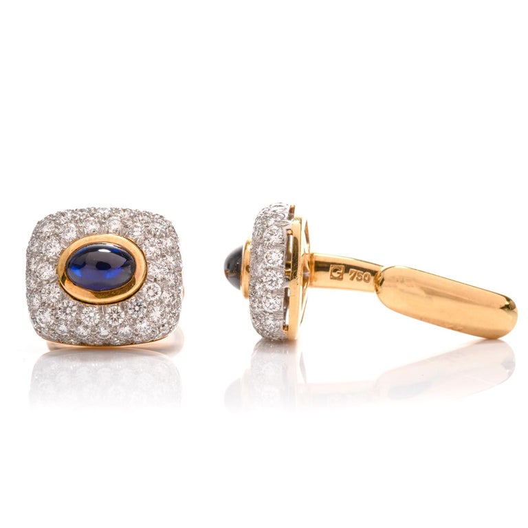 Spectacular Estate DIamond Sapphire 18 Karat Platinum Cufflinks For Sale 1