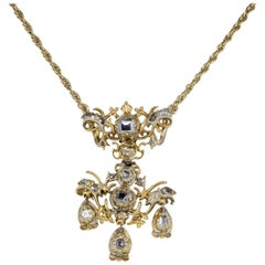 Spectacular Flaming Table Cut Diamond Stomacher Pendant Necklace