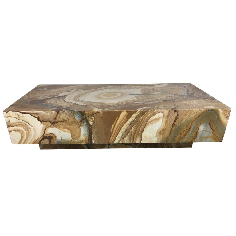 Spectacular Floating Marble Slab Coffee Table