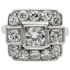 Spectacular French 2.05 Carat Diamond Platinum Engagement Ring