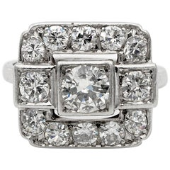 Spectacular French Art Deco 2.05 Carat Diamond Platinum Engagement Ring