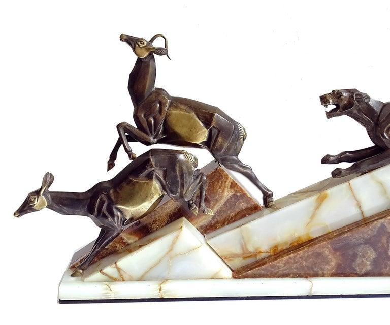 Large French Art Deco Panther Impalas Sculpture, Bronze Marble, Chiparus Era For Sale 7
