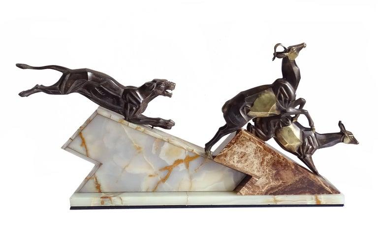 Large French Art Deco Panther Impalas Sculpture, Bronze Marble, Chiparus Era For Sale 6