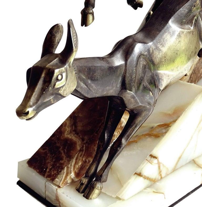 Large French Art Deco Panther Impalas Sculpture, Bronze Marble, Chiparus Era For Sale 10