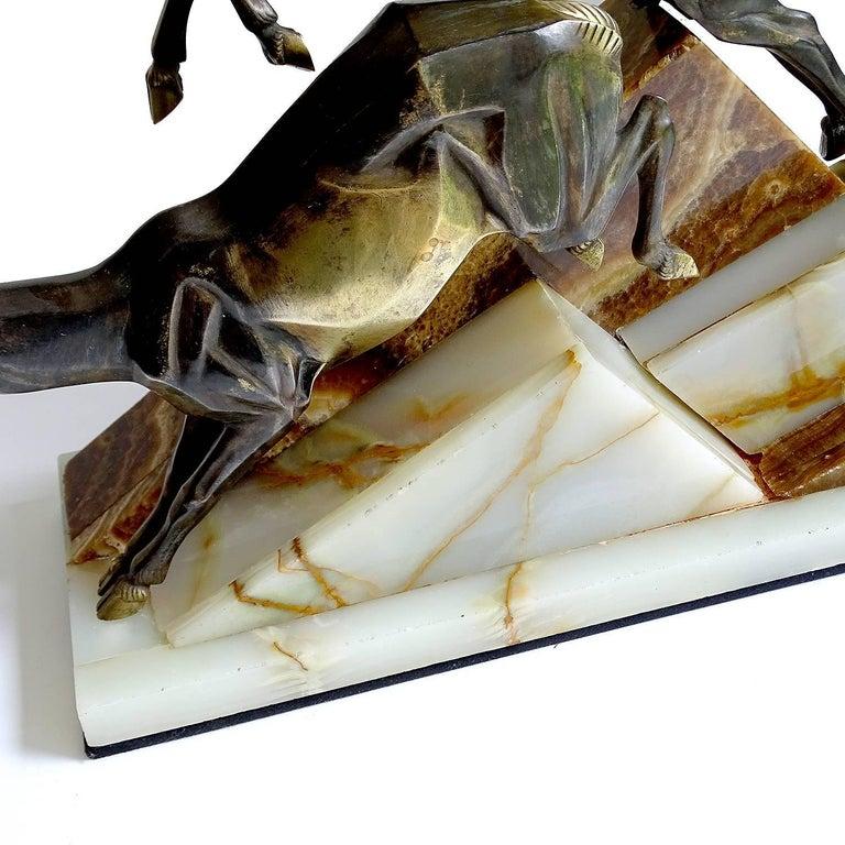 Large French Art Deco Panther Impalas Sculpture, Bronze Marble, Chiparus Era For Sale 11