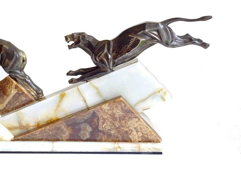 Large French Art Deco Panther Impalas Sculpture, Bronze Marble, Chiparus Era For Sale 12