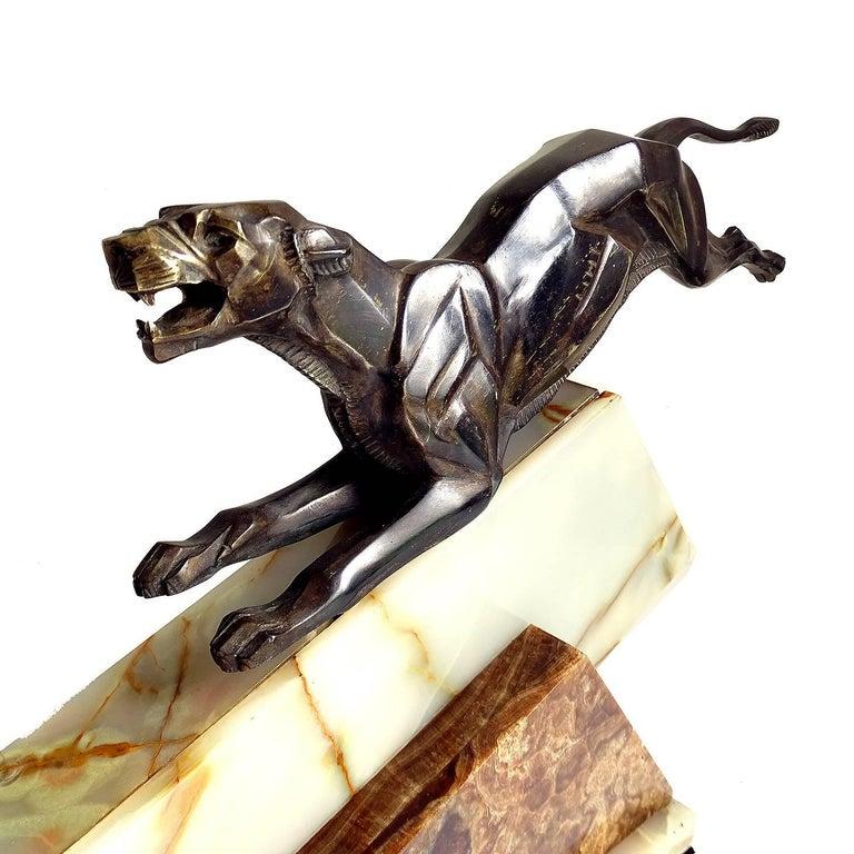 Large French Art Deco Panther Impalas Sculpture, Bronze Marble, Chiparus Era For Sale 13