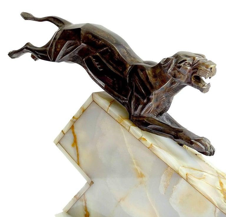 Large French Art Deco Panther Impalas Sculpture, Bronze Marble, Chiparus Era For Sale 14