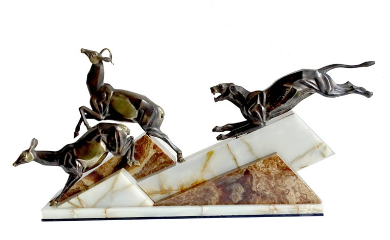 Large French Art Deco Panther Impalas Sculpture, Bronze Marble, Chiparus Era In Good Condition For Sale In Bremen, DE
