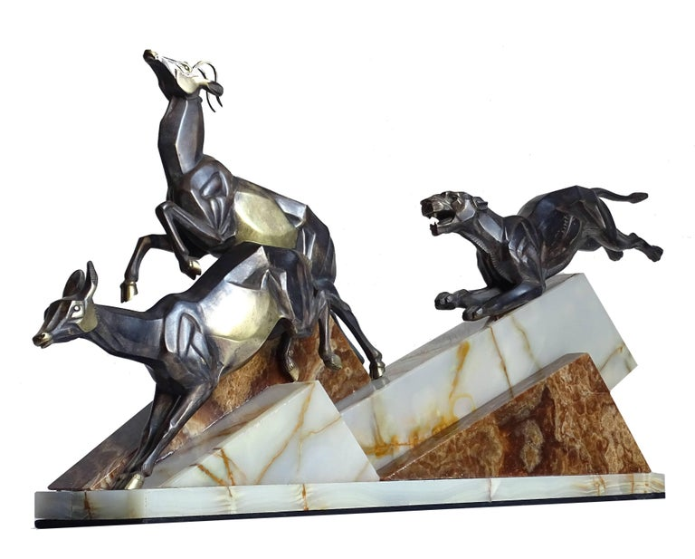 Mid-20th Century Large French Art Deco Panther Impalas Sculpture, Bronze Marble, Chiparus Era For Sale