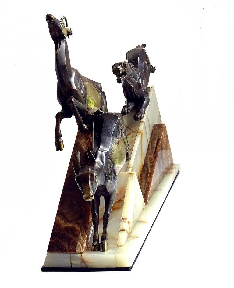 Large French Art Deco Panther Impalas Sculpture, Bronze Marble, Chiparus Era For Sale 3
