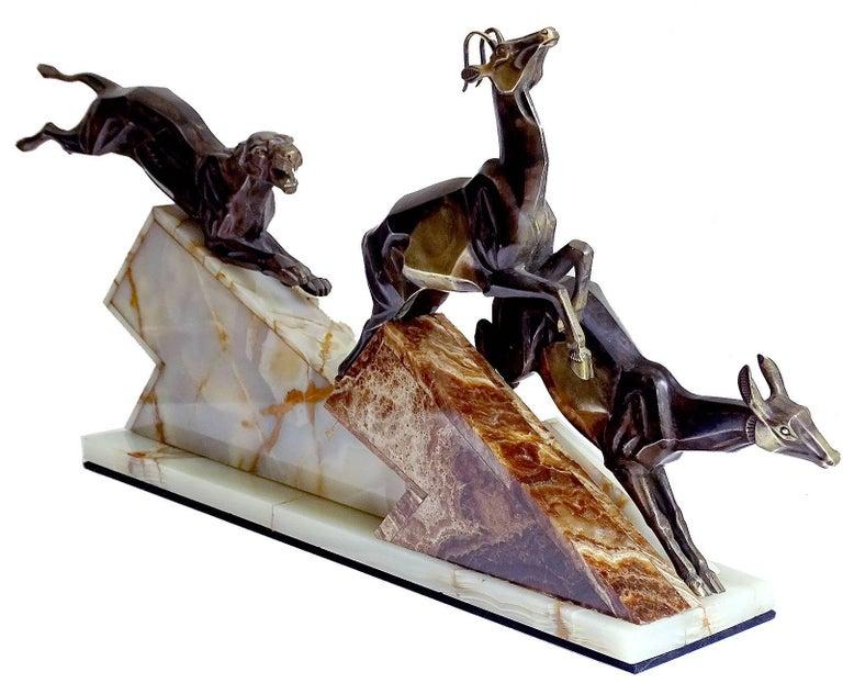 Large French Art Deco Panther Impalas Sculpture, Bronze Marble, Chiparus Era For Sale 1