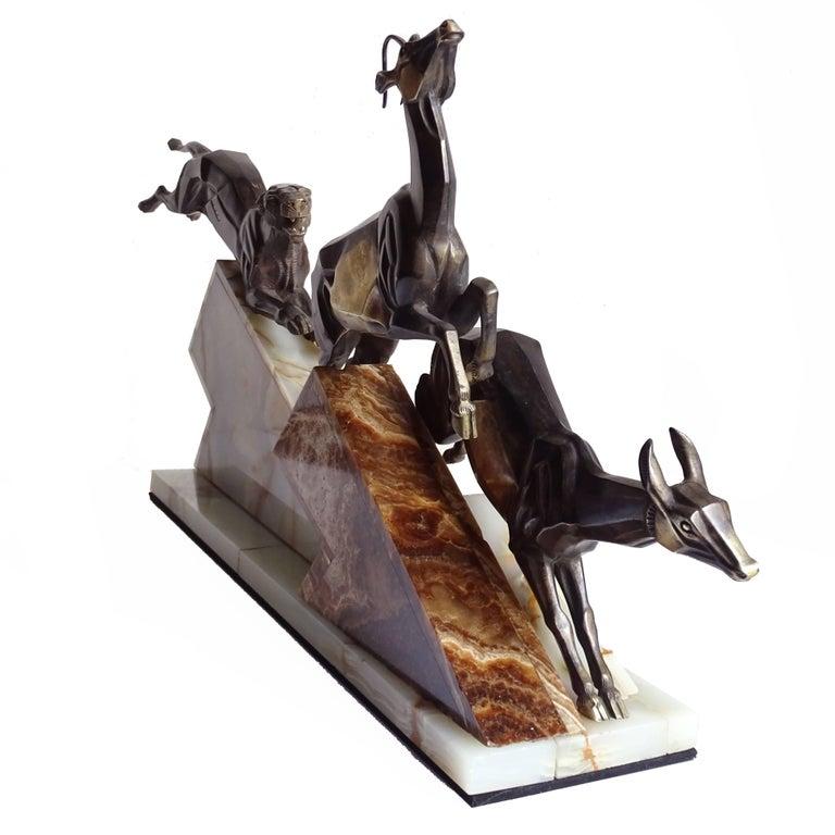 Large French Art Deco Panther Impalas Sculpture, Bronze Marble, Chiparus Era For Sale 2
