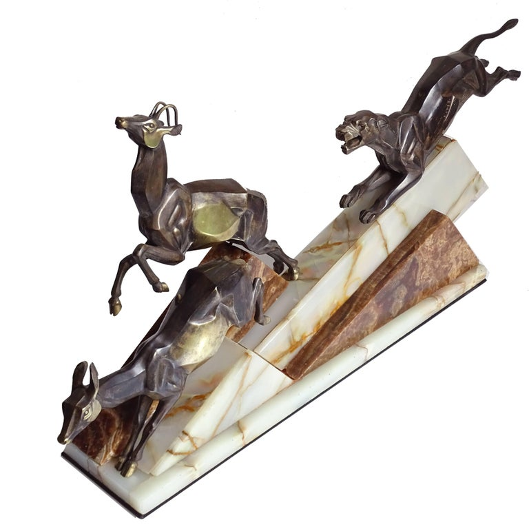 Large French Art Deco Panther Impalas Sculpture, Bronze Marble, Chiparus Era For Sale 4