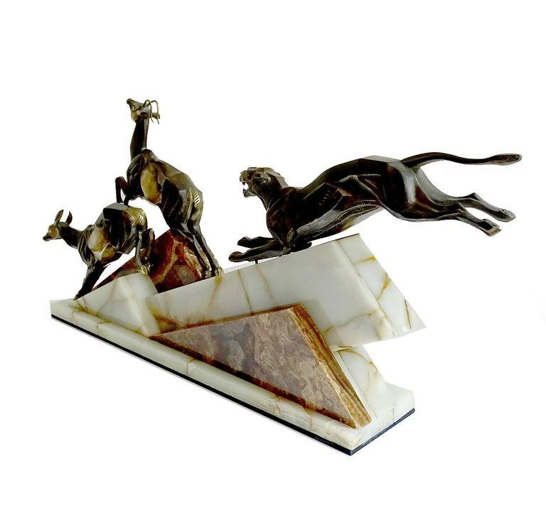 Large French Art Deco Panther Impalas Sculpture, Bronze Marble, Chiparus Era For Sale 5