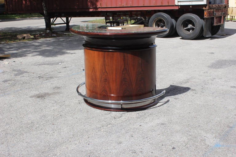 Spectacular French Art Deco Macassar Ebony Semicircle Dry Bar, circa 1940s For Sale 10