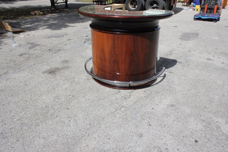 Spectacular French Art Deco Macassar Ebony Semicircle Dry Bar, circa 1940s For Sale 12