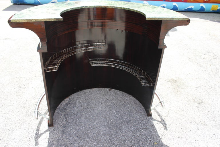 Spectacular French Art Deco Macassar Ebony Semicircle Dry Bar, circa 1940s In Excellent Condition For Sale In Hialeah, FL